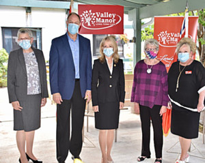 Mayor Kim Love, MPP John Yakabuskie, Dr. Merrilee Fullerton, Minister of Long Term Care, Board Chair Kathryn Marion and Trisha Sammon, CEO